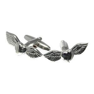 【 メール便送料無料 】 カフスボタン ハートの翼 エンジェルハートカフスボタン カフス カフリンクス cufflinks メンズ アクセサリー 紳士用 ビジネス 結婚式 フォーマル パーティー おしゃれ