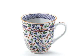 ネジリ花絵 マグカップ 青 径9x高9cm 330ml美濃焼 ブルーム 日本製 陶器 食器 プレゼント 和食器 和風 赤絵
