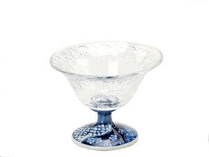 美濃焼とガラスのコラボガラスデザート鉢/祥瑞小紋11.5x高8.5cm【デザート,スイーツ,珍味,一品】【madeinjapan】【bloom-plus】