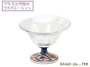 美濃焼とガラスのコラボガラスデザート鉢/赤絵丸紋11.5x高8.5cm【デザート,スイーツ,珍味,一品】【madeinjapan】【bloom-plus】