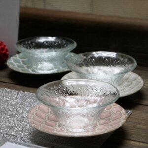【生産中止売切れ御免】美濃焼 ギフトゼリージュガラス鉢セット 3色受皿付【zellij,幾何学模様,鉢,デザート鉢】【ピンク 緑 白】【made in japan】【bloom-plus】
