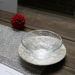 美濃焼 ギフトゼリージュガラス鉢 受皿付 白【zellij,幾何学模様,鉢,デザート鉢】【made in japan】【おうちカフェ】【bloom-plus】