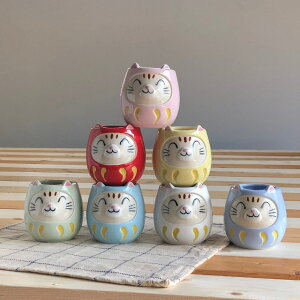 福ねこマグカップ水色径6x高8.5cm美濃焼ブルーム日本製陶器食器プレゼントかわいい水色青ブルーねこcatbloomplus