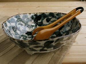 美濃焼タコ唐草三つ足大鉢