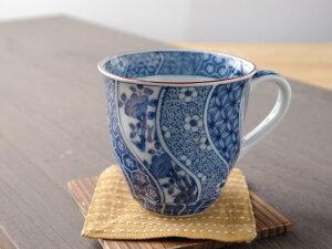 【アウトレット】ネジリ祥瑞 マグカップ径9x高9cm 260mll 美濃焼 ブルーム 日本製 陶器 食器 和食器 和風 染付 花