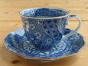 美濃焼アウトレット/ギフト対象外 ネジリ祥瑞コーヒーカップ&ソーサー【径8.5x高6.5cm/200ml】【おうちカフェ】【藍,染付,祥瑞,コーヒ…