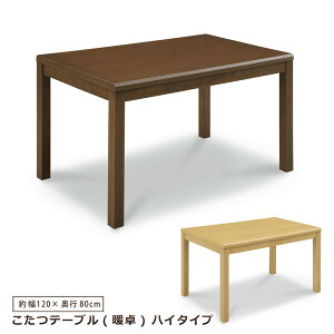 ダイニングこたつテーブル ハイタイプ 幅120 こたつ テーブル 暖卓 木製 シンプル モダン
