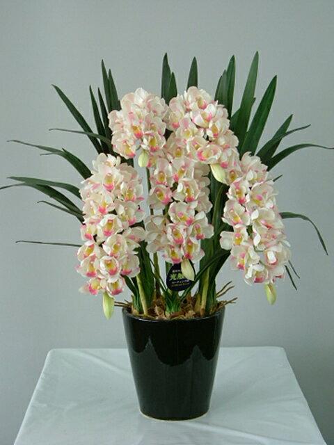 シンビジューム 白ピンク Sサイズ 5本 光触媒アートフラワー(造花) 贈り物・母の日・新築祝・開店祝・誕生日・記念日・卒業式・入学式・ギフト・お歳暮・お年賀に【smtb-s】