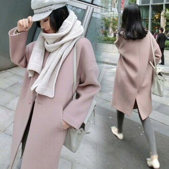 The coat lady's pink that unhurried big size Shin pull basic design has a cute in winter
