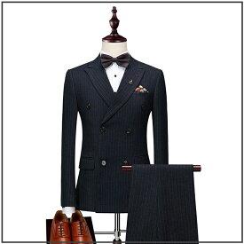 【お買い得】ストライプ柄スタイリッシュスーツ やや細身 スリム体型 キレイめ ビジネススーツ フォーマルスーツ メンズスーツ スリーピーススーツ ストライプ スーツ ダブル スリムシルエット