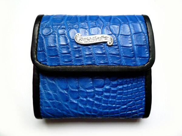 セール! BILL WALL LEATHER(ビルウォールレザー) アリゲーター ウォレット 二つ折り BLU 財布 ZIGGY LG CURRENCY BILLFOLD ウォレットBWL