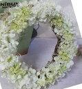 あじさいのホワイトリース【エンジェル・リ−ス】造花・CT触媒・CT触媒のリース・造花のリースアジサイのリースクリスマスリース・お祝い・誕生日結婚祝い・ブライダル・ウエルカムボード枯れない花・白のース・