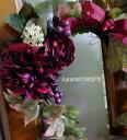 秋色ハンキング送料無料・CT触媒・CT触媒のスワッグ・造花のリーススワッグ・ハンキングクリスマスリース・枯れない花・外玄関のスワッグ