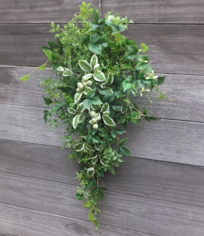 グリーン・ミックススワッググリーンのスワッグ・造花・外に飾るスワッグ・玄関リース・クリスマス・リース枯れないリース・外玄関のリース