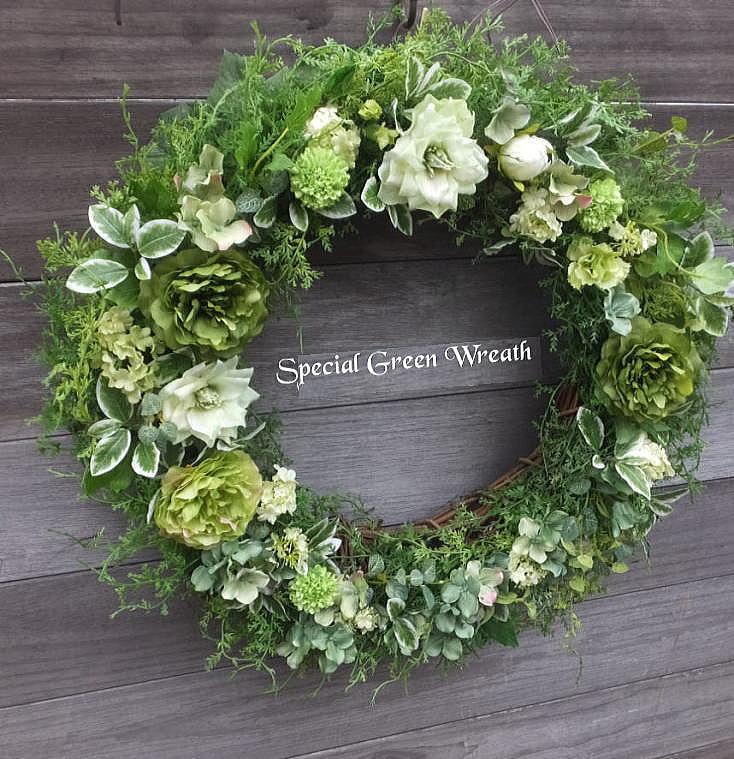 大きさ50cm スペシャル・グリーンスリース送料無料・グリーンのリース・ウェルカムボード 造花・外に飾るリース・玄関リース・クリスマス・リース・大きなリース・枯れないリース・外玄関のリース