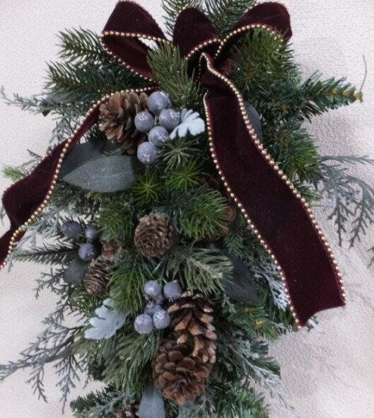 ナチュラルグリーン・スワッグ送料無料・CT触媒・CT触媒のスワッグ・造花のリースグリーのリース・モミのリースクリスマスリース・お祝い・誕生日結婚祝い・ブライダル・ウエルカムボード枯れない花・外玄関のスワッグ