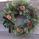 45cm グリーン・クリスマス送料無料・CT触媒・CT触媒のリース・造花のリースグリーンのリース・モミのリースクリスマ…