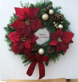 【ポインセチアのクリスマスリース】送料無料・CT触媒・CT触媒のリース・造花のリース赤いリース・ポインセチアのリースクリスマスリース・お祝い・誕生日結婚祝い・ブライダル・ウエルカムボード枯れない花・外玄関のリース