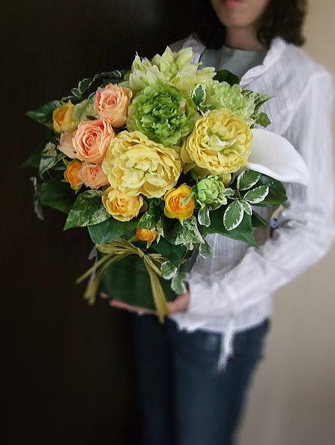 サン・アレンジメント【サンタフェ・オレンジ】【楽ギフ_メッセ入力】【楽ギフ_包装】結婚祝い・新築祝い・アートフラワー・造花・ブーケ・ブライダルお祝いの花・母の日・バラ・CT触媒母の日の花・オレンジの花・お誕生日・ビタミンカラー