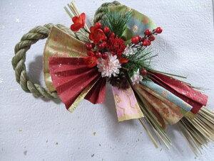 新春 しめ縄飾り 【 梅の舞 】〔ドライフラワー〕〔和花〕〔お正月飾り〕〔お年賀〕〔お正月の花〕〔和風の花〕〔新年の花〕しめ縄飾り・しめ縄・壁飾り造花・アートフラワー・枯
