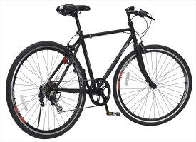 送料無料 マイパラス m-605-bk クロスバイク 26インチ シマノ製 6段ギア シンプル フレーム エアロリム 自転車 黒 ブラック