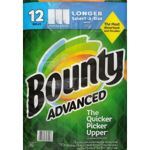 送料無料 バウンティ『エコ Bounty ホワイト』バウンティー キッチンペーパータオル 無地 アドバンスド セレクトアサイズ 12ロール12Pセット タオルペーパー 110シート×12ロール 2枚重ね ペー