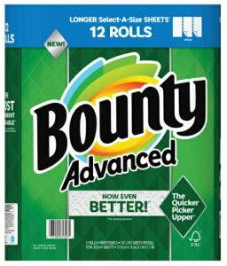【送料無料】 バウンティ『Bounty』バウンティー キッチンペーパータオル 12ロール 12Pセット タオルペーパー プリント付 12ロール 2枚重ね 12パック プリント柄付き 無地 ペーパーウエ