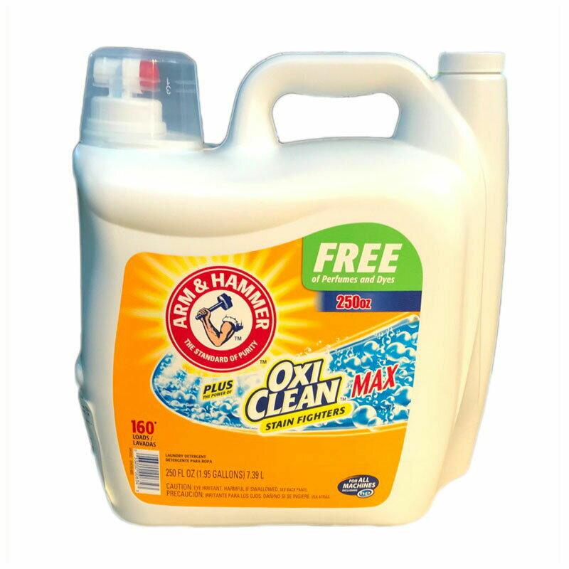 オキシクリーン アームアンドハンマー『Arm&Hammer OXICLEAN』液体洗濯洗剤 7.39L 無香料 無着色 約160回分 シミ しみ アーム&ハンマー+オキシクリーン Arm&Hammer Liquid Laundry Detergent plus Oxiclean MAX Free 250oz 大容量 におい 汚れ コストコ Costco COSTCO