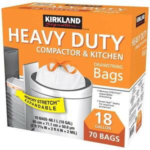 【送料無料】カークランドシグネチャー 『ひも付きゴミ袋 18ガロン』 白 特大 ゴミ袋 68L x 70枚  ごみ袋 ゴミぶくろ 60cm x 68cm コストコ 通販