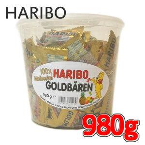 HARIBO ハリボー グミ ミニゴールドベア 『ハリボー』 グミキャンディ ドラム 980g 100袋 Gold Baren コストコ 通販 大量 濃縮還元果汁 パイナップル レモン オレンジ ラズベリー ストロベリー ア
