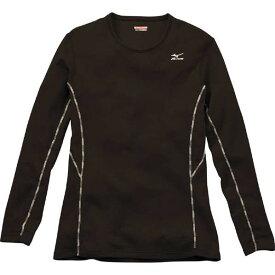 ミズノ MIZUNO ブレスサーモ ミドルウエイト クルーネック長袖シャツ 女性用 ブラック[A2JA570909]