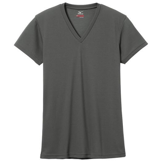 ミズノ MIZUNO ブレスサーモエブリ Vネック 半袖シャツ 男性用 チャコール[C2JA560207]