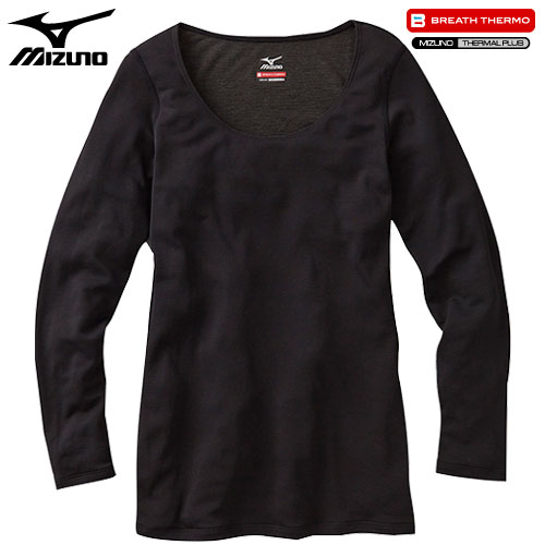 ミズノ MIZUNO ブレスサーモ ライトウエイト ラウンドネック長袖シャツ 女性用 ブラック[A2JA570109]