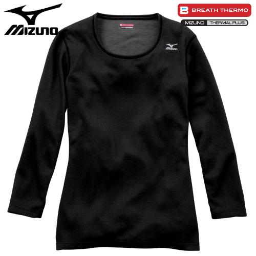 ミズノ MIZUNO ブレスサーモ ミドルウエイト ラウンドネック8分袖シャツ 女性用 ブラック[A2JA571109]