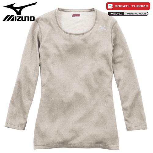 ミズノ MIZUNO ブレスサーモ ミドルウエイト ラウンドネック8分袖シャツ 女性用 ベージュ[A2JA571149]