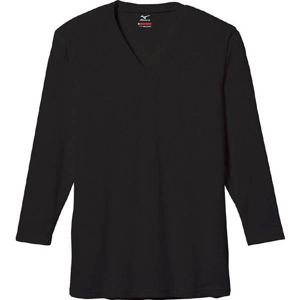ミズノ MIZUNO ブレスサーモエブリ Vネック 長袖シャツ 男性用 ブラック[C2JA560109]