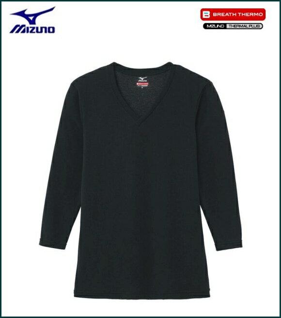 ミズノ MIZUNO ブレスサーモエブリプラス Vネック 長袖シャツ 男性用 ブラック [C2JA664109]