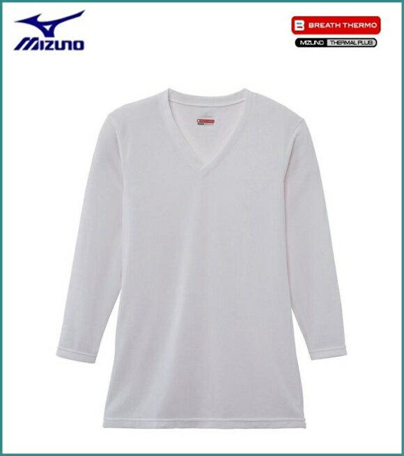 ミズノ MIZUNO ブレスサーモエブリプラス Vネック 長袖シャツ 男性用 オフホワイト [C2JA664102]