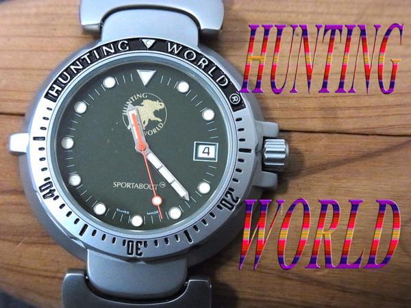 【中古】高級▼ハンティングワールド 日付カレンダー付 腕時計