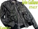 【中古】良品●イタリア製!JohnGalliano ジョンガリアーノ 高級ラムレザージャケット 羊革 袖ロゴデザイン メンズ 34/48