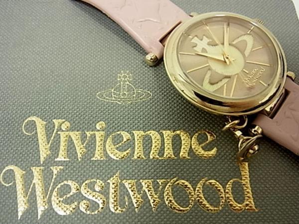 【中古】◇動作確認済 美品◇ヴィヴィアンウエスト Vivienne Westwood◇腕時計 オーヴ レディース レザーベルト ピンクXゴールド 箱付き