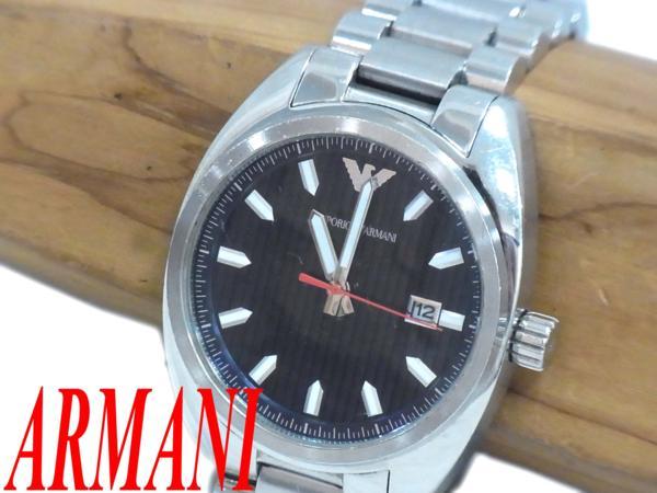 【中古】▽アルマーニ ARMANI ロゴマーク入 ステンレス メンズウォッチ 腕時計 シルバー ネイビー