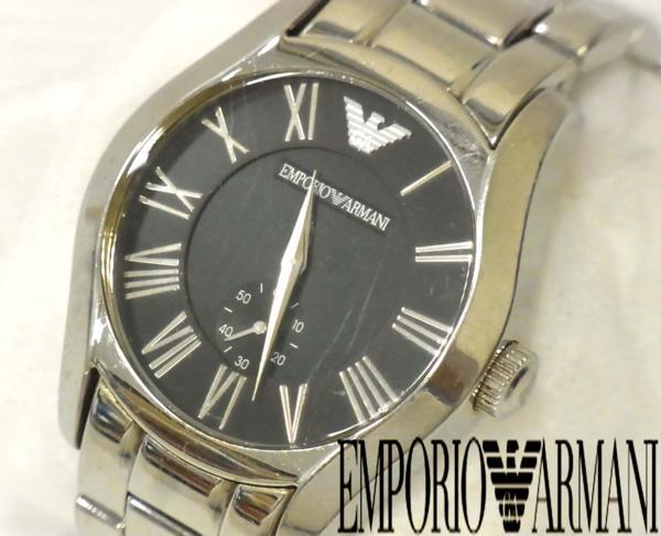 【中古】▽アルマーニ クラシック クロノグラフ 腕時計 メンズ 紳士 ビジネス可 ウォッチ EMPORIO ARMANI