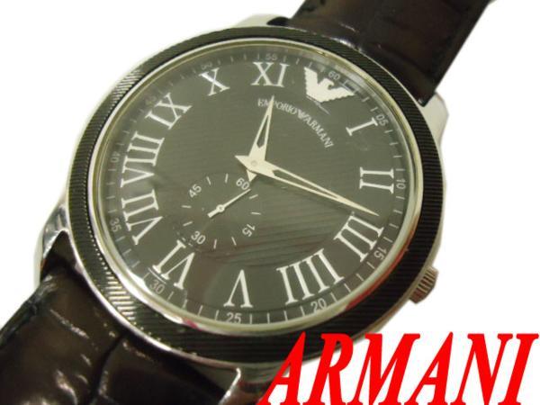 【中古】☆ARMANI アルマーニ 腕時計 AR0464 ステンレス クロコ型押しレザーベルト ウォッチ クォーツ 5気圧防水 メンズ