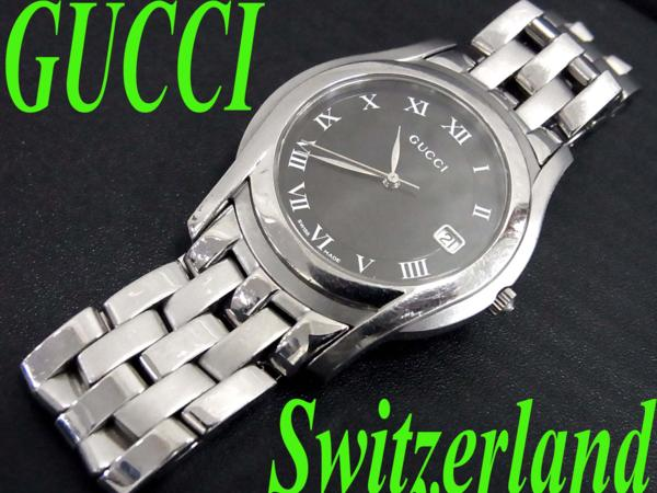 【中古】良品●GUCCI グッチ 紳士メンズウォッチ腕時計 5500M スイス製 動作確認済み シルバー×ブラック