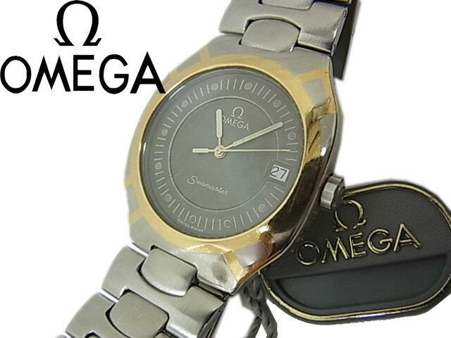 【中古】良品◇動作確認済◇オメガ Ωシーマスター ポラリス SS/K18YG  コンビ 3針 デイト付き クオーツ メンズ 腕時計