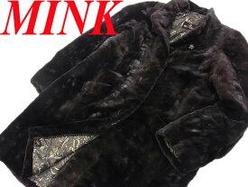 【中古】○美品○シェアードミンク ダークミンク ミンクファー ロングコート 毛皮 レディース 大きいサイズ 裏スカーフ MINK 最高級 リアルファー