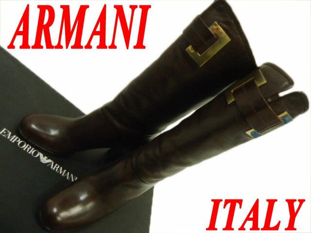 【中古】☆美品 イタリア製 ARMANI アルマーニ レザーロングブーツ レディース ブラウン 美シルエット 上質 箱付き