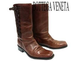 【中古】◎ボッテガヴェネタ 本革 レザーブーツ イタリア製 BOTTEGA VENETA ロングブーツ メンズ 靴 サイズ:43 ダークブラウン 高級