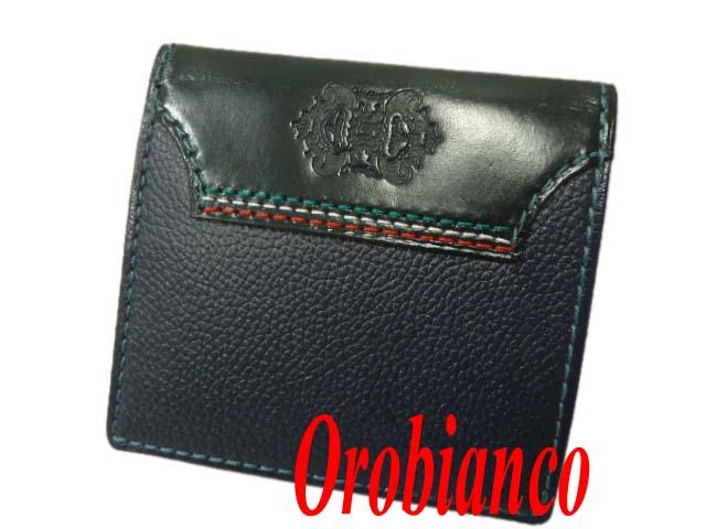 【未使用】☆オロビアンコ 財布 牛革 レザーウォレット 二つ折り 小銭入れ有 Orobianco メンズ シュリンクレザー ユニークライン